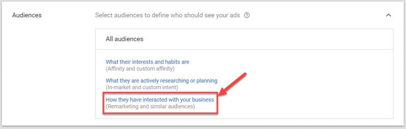 Screenshot of how to choose the right audience for your Google retargeting ads