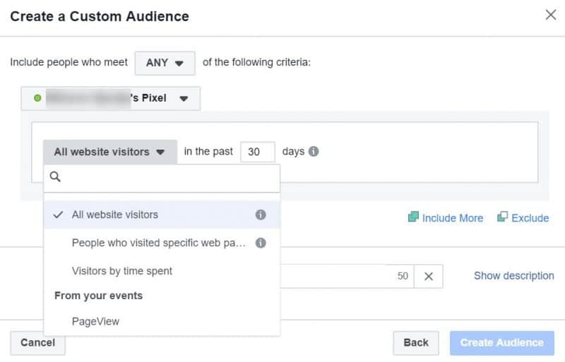 Screenshot of how to create a custom retargeting audience for Facebook ads