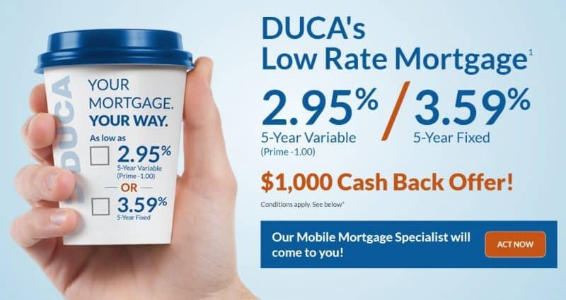 Screenshot of Duca low rate mortgage retargeting ad landing page above the fold area