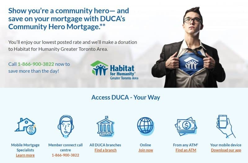 Screenshot of Duca low rate mortgage retargeting ad landing page below the fold features section