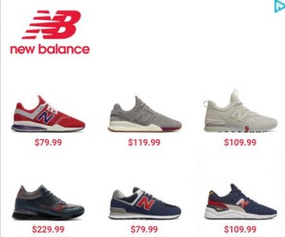 Screenshot of a New Balance retargeting ad with specific products and pricing