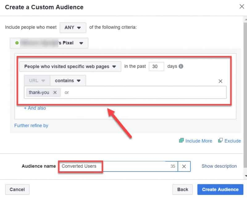Screenshot of how to create a custom audience for converted users to be used for retargeting ads