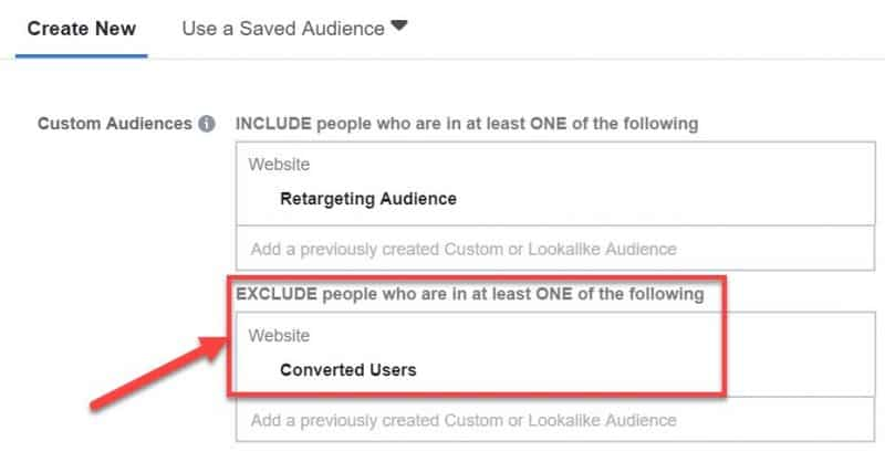 Screenshot of how to exclude converted users from Facebook retargeting ads