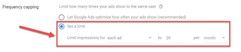Screenshot of how to set a retargeting frequency cap in Google Ads