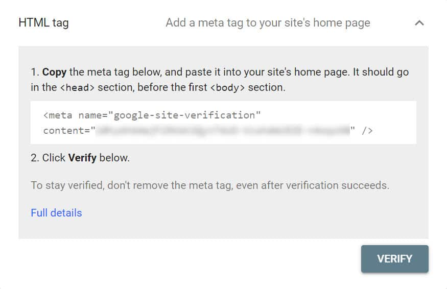 gsc verify with html tag