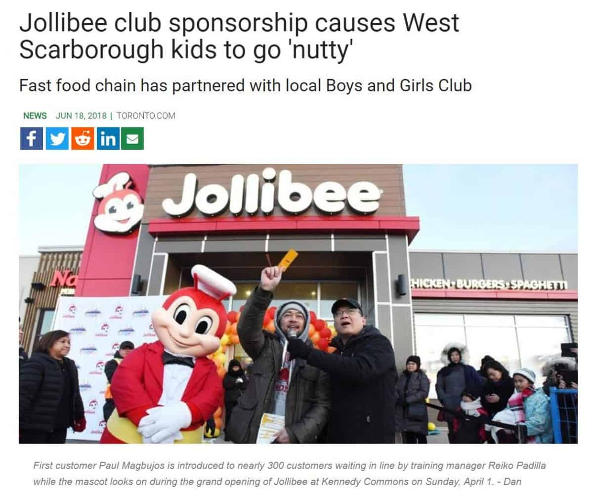 Screenshot of a news article covering a local business