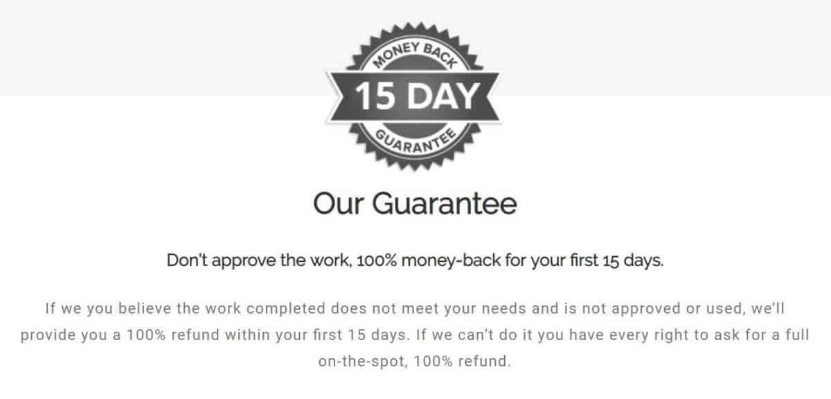 A money back guarantee badge on a website