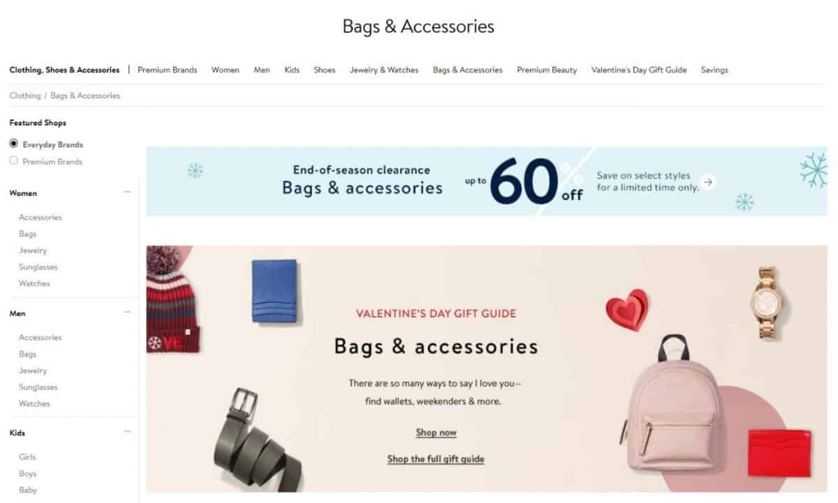 Screenshot of women's bags category on an e-commerce site