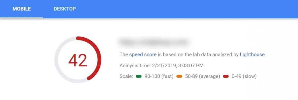 poor performance on mobile devices shown in Google Pages Speed Insights