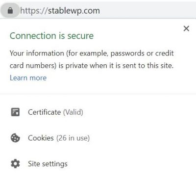 HTTPS connection is secure badge in browser
