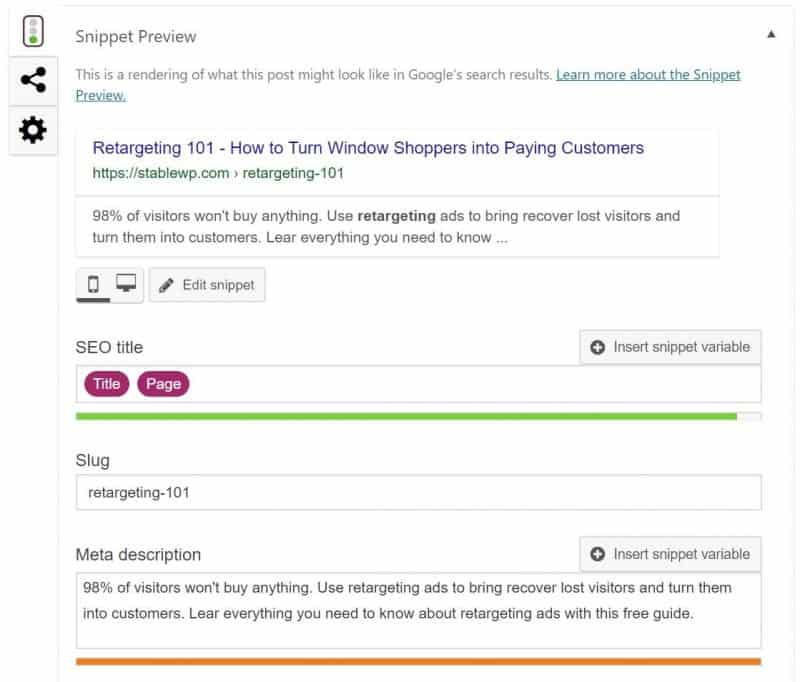snippet preview in Yoast SEO
