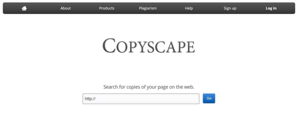 screenshot of Copyscape home page