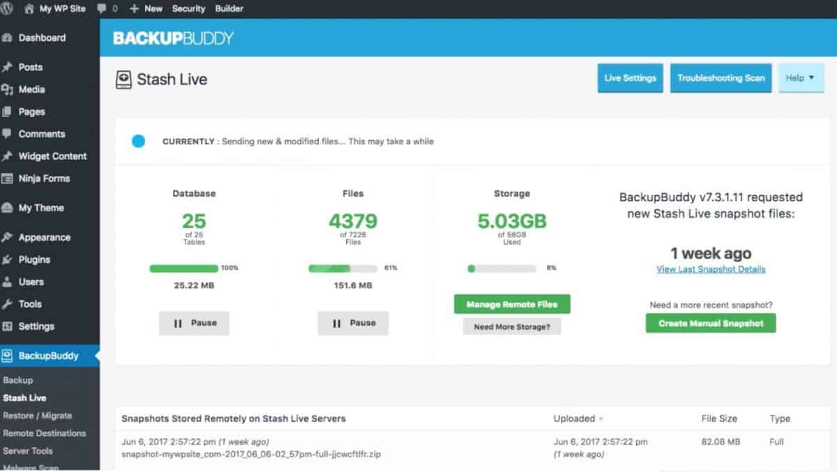 BackupBuddy dashboard