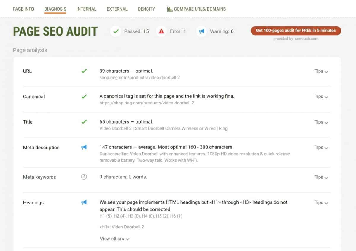 SEO Quake Page SEO Audit