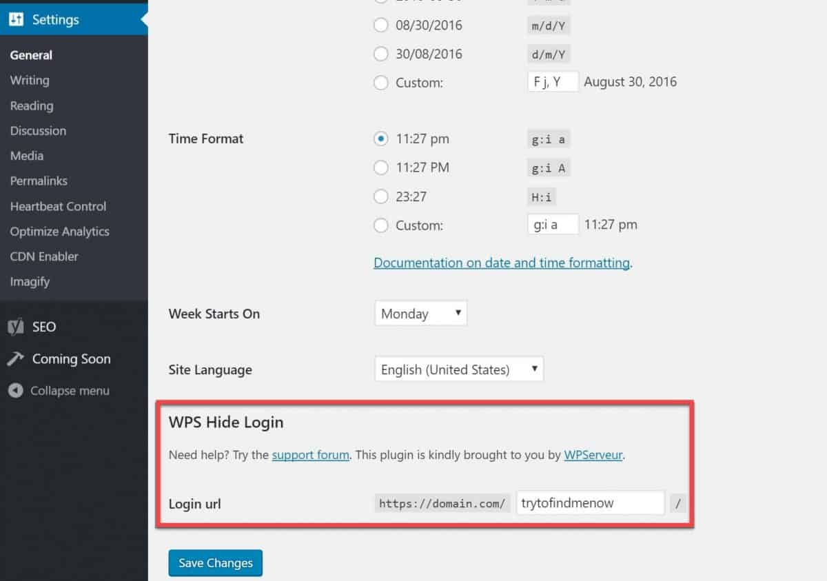 WPS Hide Login plugin configuration in WordPress dashboard