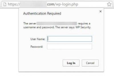 Screenshot of a site requiring username/password authentication to access WordPress login page