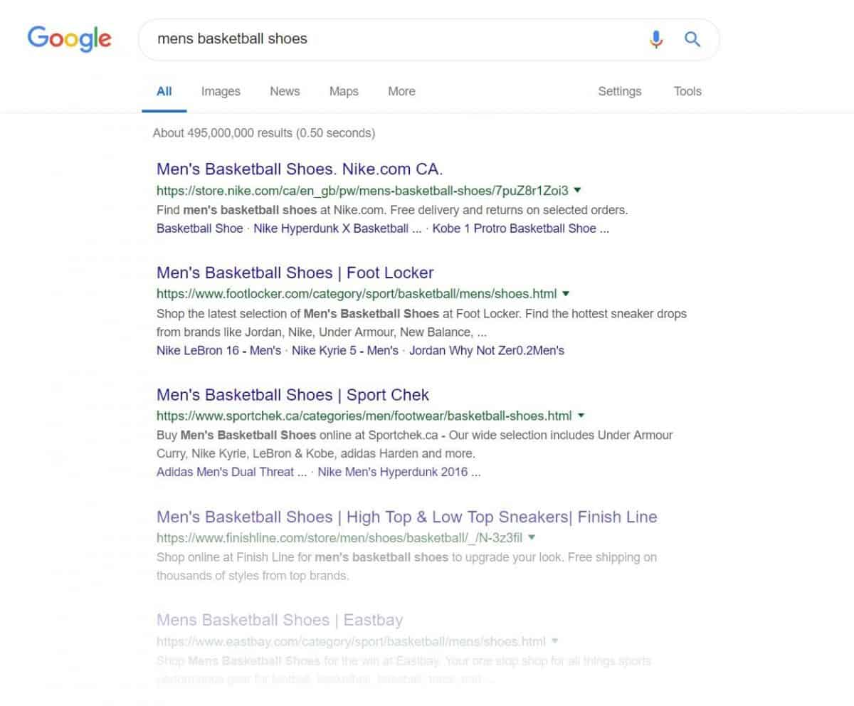 screenshot of google serp for men's basketball shoes