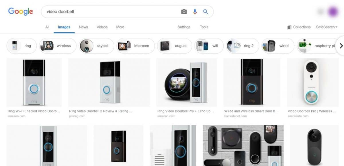 Image search for video doorbell