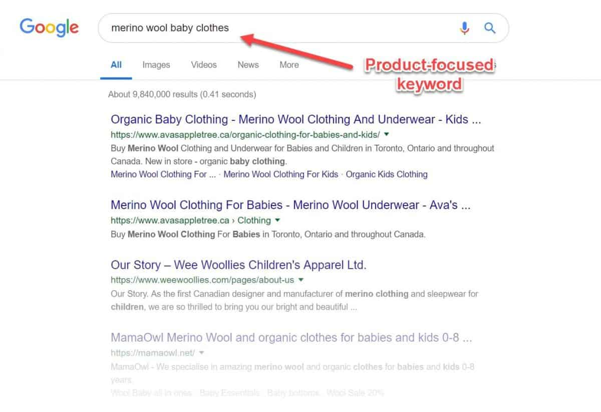 screenshot of a product focused keyword in google search