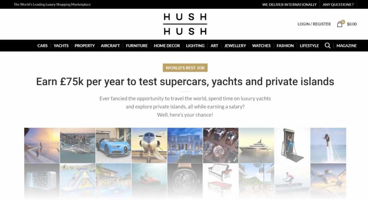 Hush Hush e-commerce website offering an insane job opportunity as a PR stunt