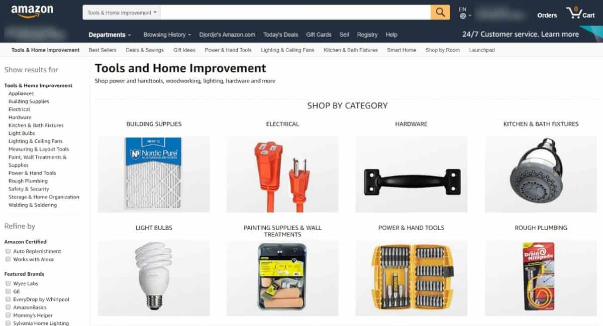 Category page Amazon