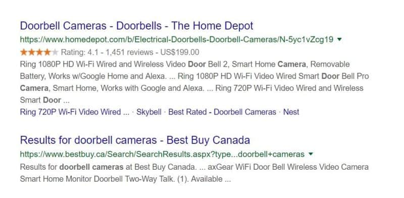 Various results for doorbell camera query in Google