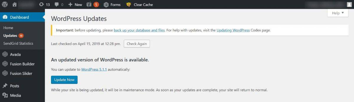 How to update WordPress core