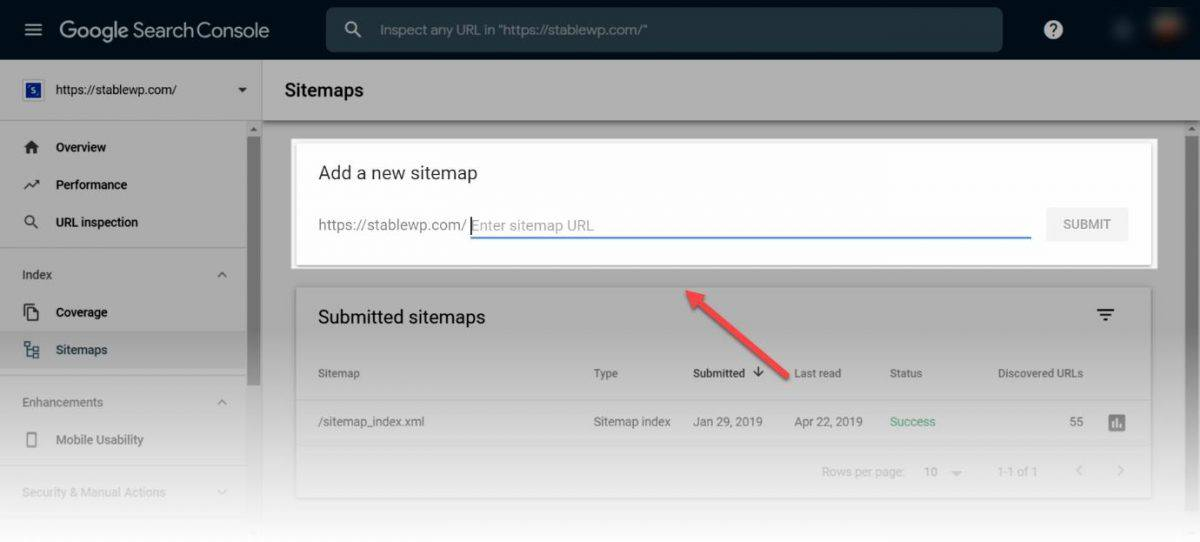 Google Search Console add new sitemap