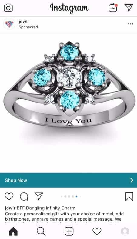 facebook ads with shop now cta for personalized jewelry e-commerce