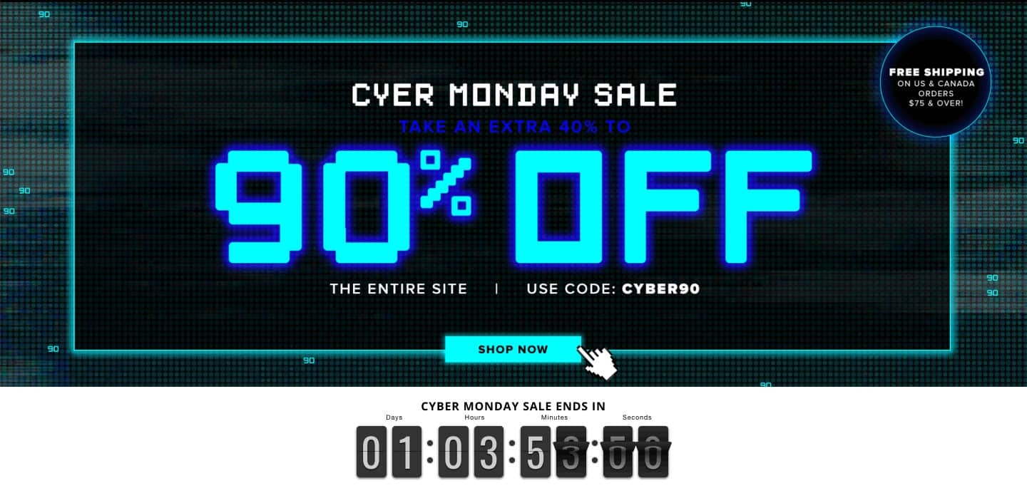 cyber monday sale with countdown timer