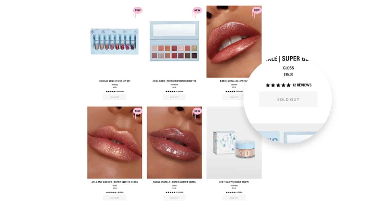sold out items on e-commerce site for holiday season