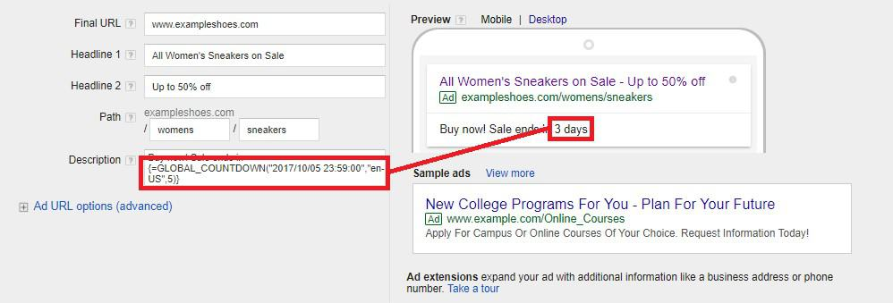 countdown timer in google ads