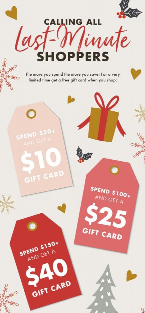 last minute shopper holiday gift cards
