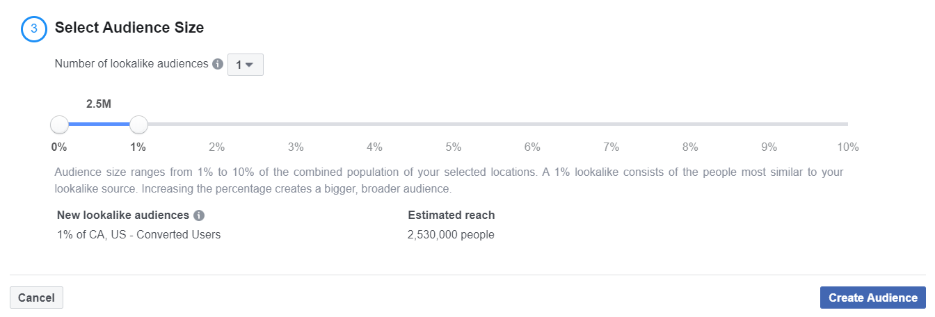 facebook audience size match