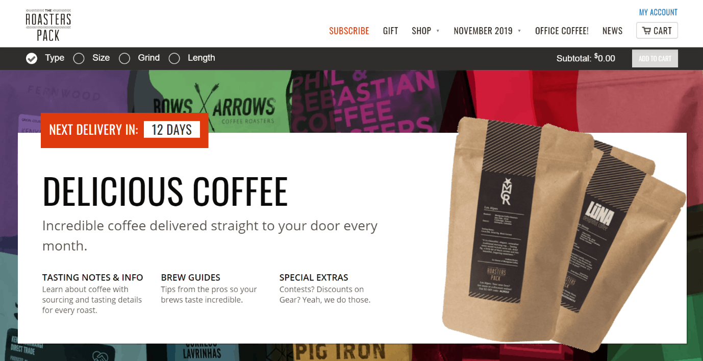 Coffee e-commerce subscription model