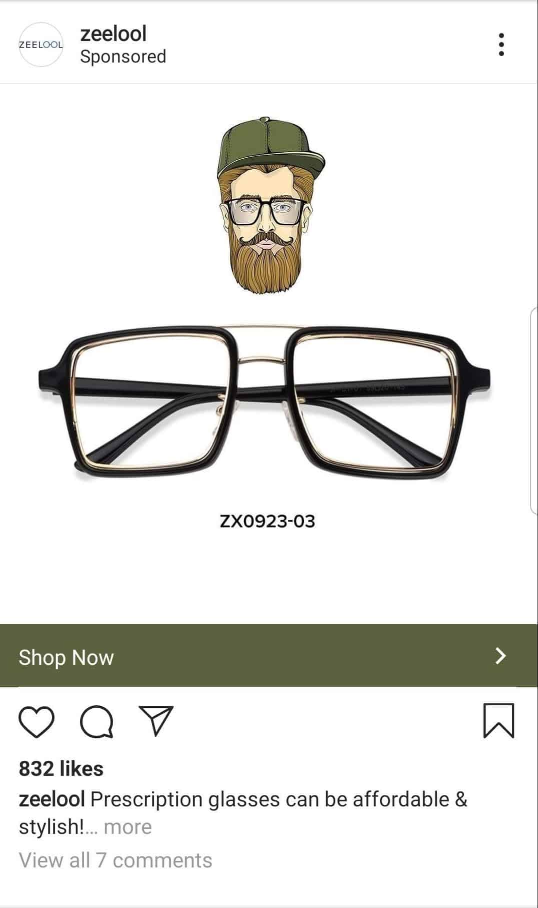 prescription glasses instagram ad
