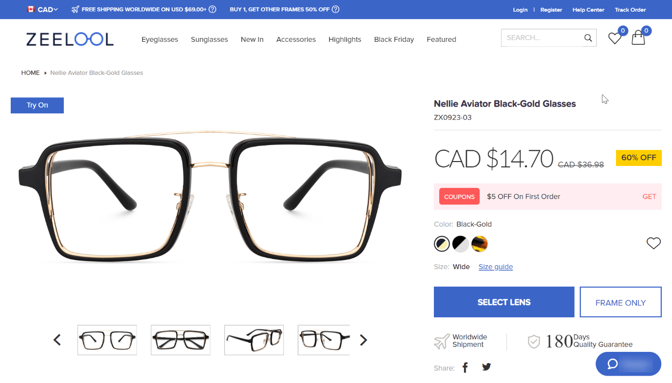 prescription glasses product page