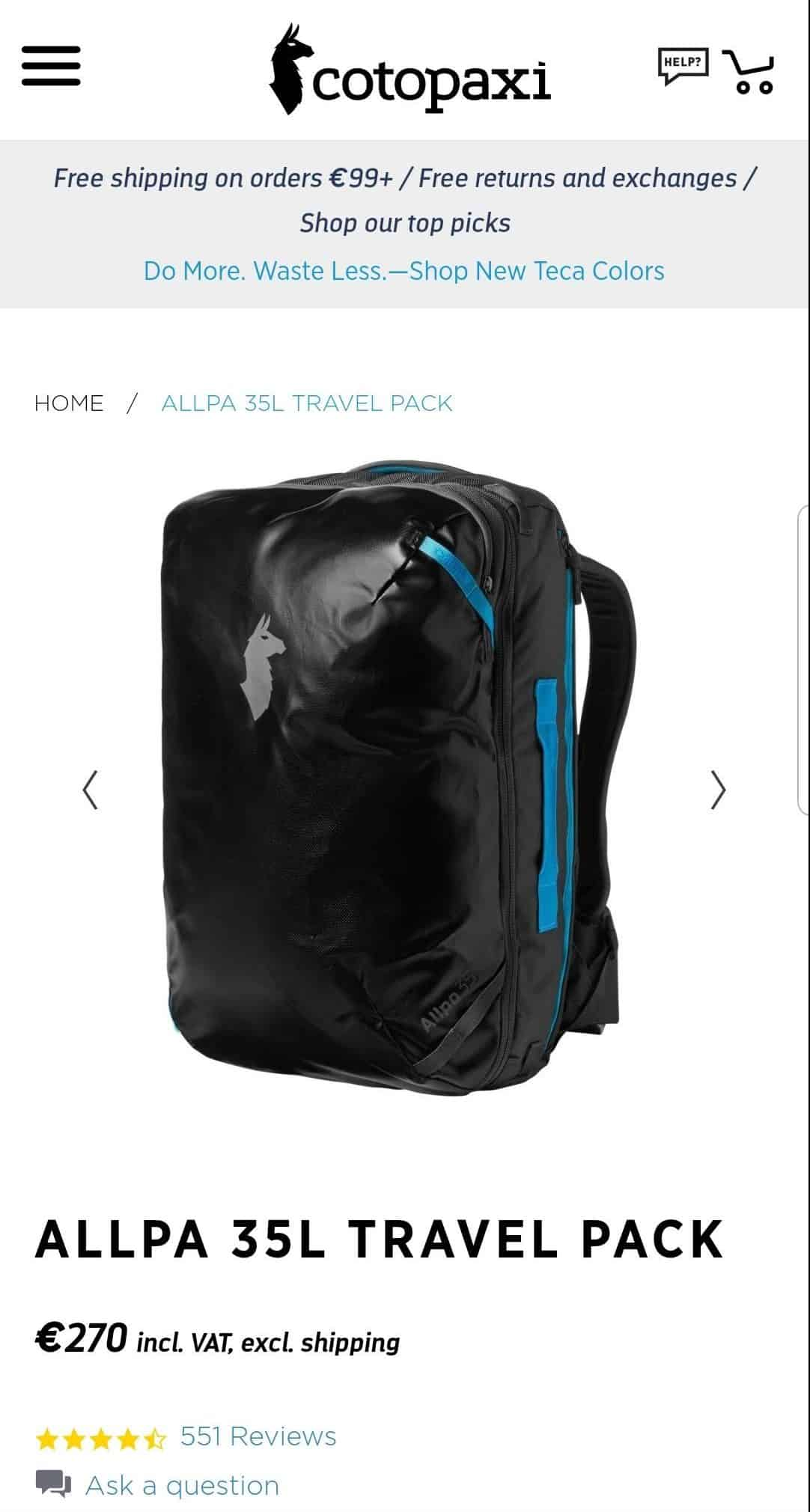 conditional free shipping on backpack online store