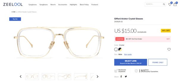 zeelool glasses product page