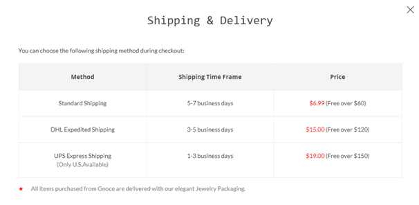 gnoce fee shipping tiers and options
