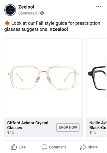 zeelool glasses facebook ad