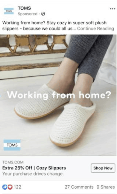 TOMS Facebook ad for slippers