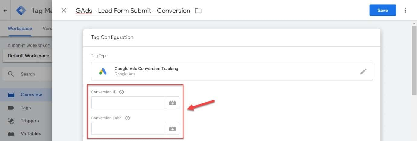 google ads conversion tag setup in GTM