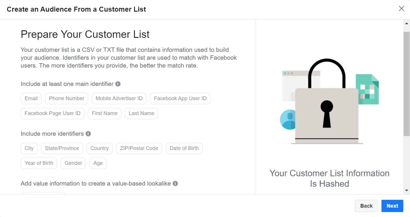 prepare your customer list - create an audience from a customer list