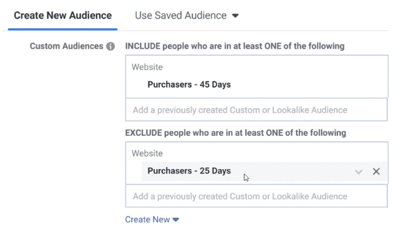 create new audience - facebook ads