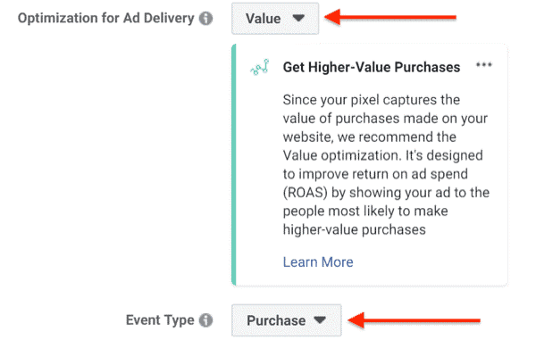 optimization for ad delivery - facebook ads