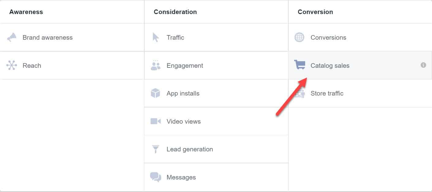 catalog sales - conversion stage - facebook ads