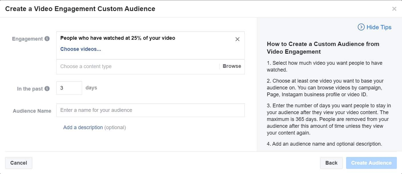 create a video engagement custom audience - facebook ads