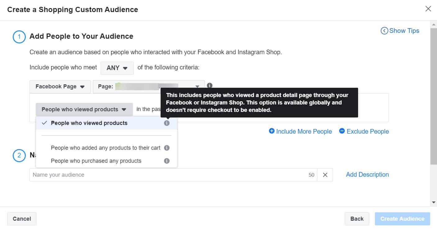 people who viewed products - create a shopping custom audience - facebook ads