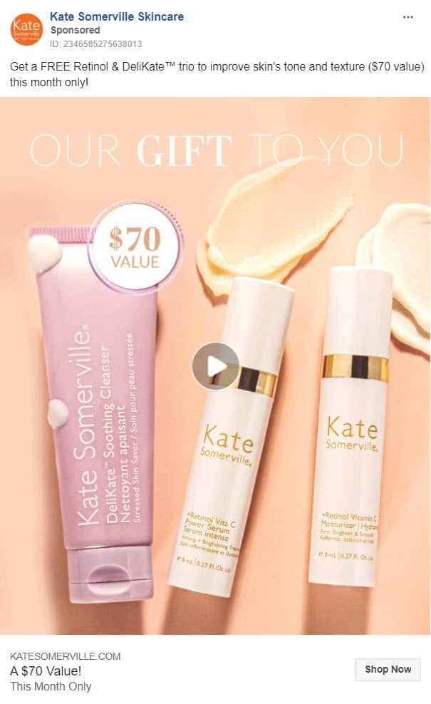 free offer retargeting - facebook ads - example: kate somerville skincare